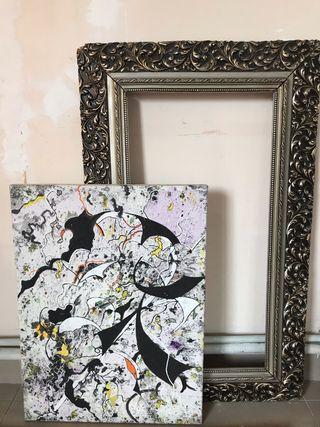 Cuadro lienzo al óleo abstracto