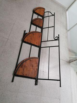 mueble de forja y madera rústica plegable