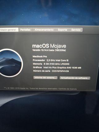 Macbook Pro 2019 de 256gb GARANTÍA