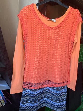 Meyeeka ladies dress in pale orange