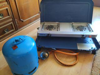 Cocina gas camping, con regulador y bombona de gas