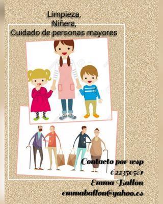 Cuidado de personas mayores, niñ@s y limpieza, etc