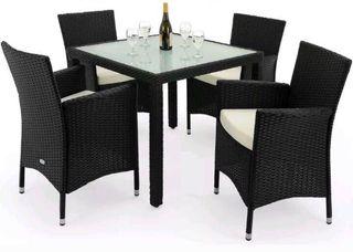 Mesa y 2 sillas de ratán para terraza o jardín