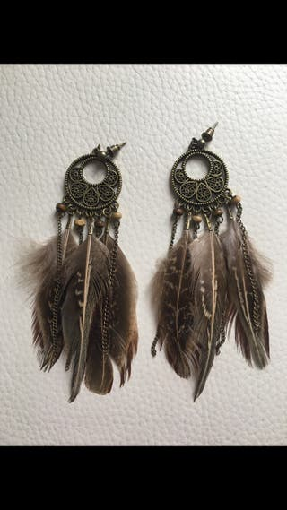 Pendientes boho plumas