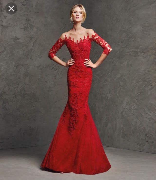 Vestido De Pronovias Novia Madrina Rojo Boda De Segunda