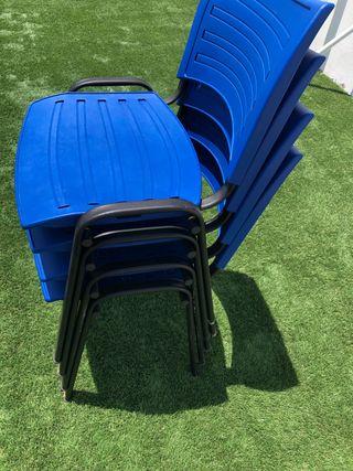 4 sillas de Oficina azul