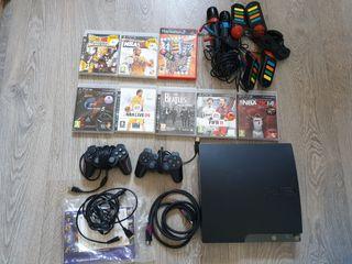Play Station PS3 Slim + mandos + pack juegos (ps3)