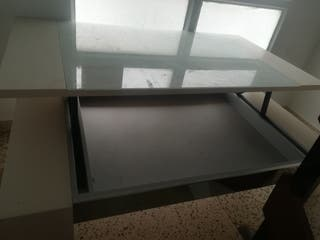 mesa baja de salon dos alturas en blanco