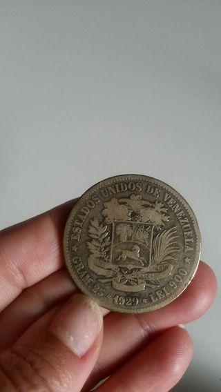 Moneda Año 1929 Estados Unidos De Venezuela 25 Gra