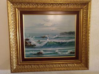 Cuadro al oleo de agua marina sobre lienzo