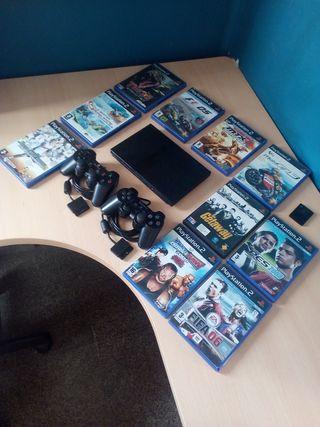 PS2 Slim + mandos + juegos