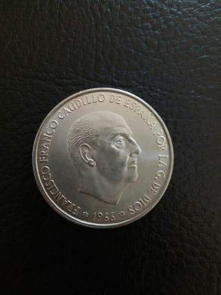 moneda 100 pts. 69 palo recto.