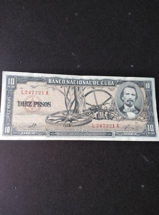 Cuba 10 pesos antiguos.