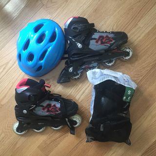 Patines + protecciones + casco