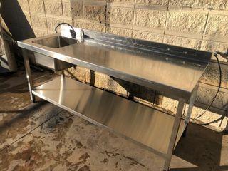 Fregadero industrial mesa de trabajo inox pica