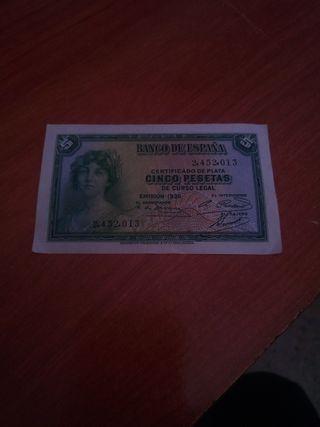 Billete 5 pesetas 2ª República