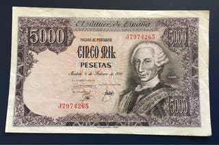Billete 5000 Pesetas 1976 MBC+