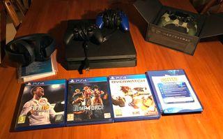 PS4 slim, 3 mandos, 4 juegos, cascos.