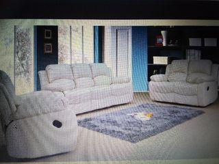 3+2 Cream recliner leather sofa