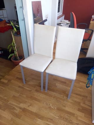 4 sillas patas metálicas tapizadas polipiel blanca
