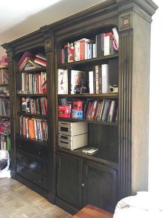 Estantería, librería, mueble madera salón
