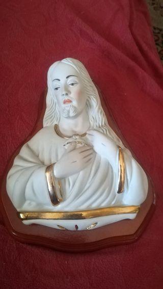 figura religiosa de porcelana biscuit