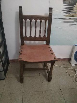 silla única madera y piel auténtica Vintage