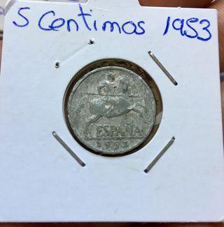 Escasa Moneda 5 Céntimos 1953