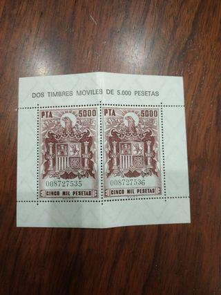 Timbres móviles de 5000 pesetas