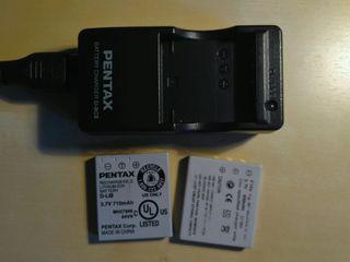 Cargador Pentax D-BC8 y 2 baterías