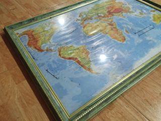 Mapa Mundi Enmarcado Grandes Dimensiones