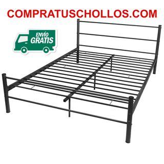 Estructura de cama 140x200 cm de metal negra