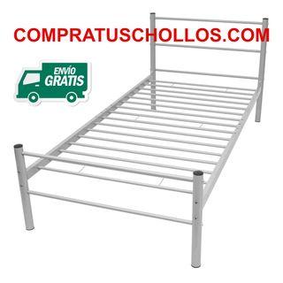 Estructura de cama de metal gris 90x200 cm