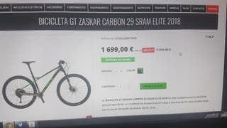 BICICLETA GT ZASKAR CARBON 29 SRAM ELITE 2018