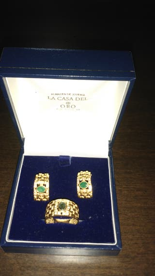 Aderezo pendientes y anillo oro tipoCartier