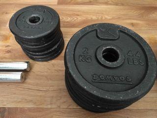 Juego de pesas 36kg y barras