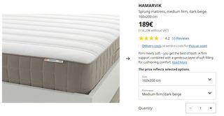 Ikea King colchon hamarvik 160x200
