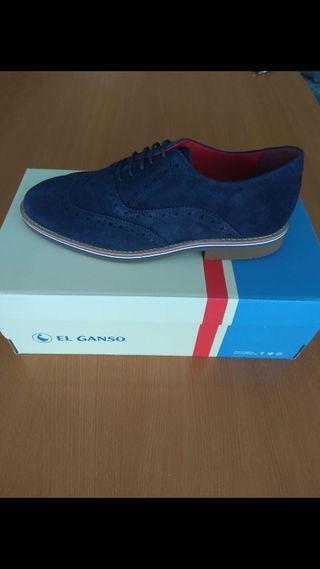 Zapato El Ganso modelo Oxford color azul marino