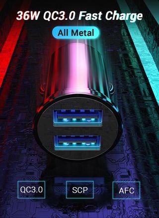 Cargador de coche 36 W Metal Dual USB QC 3.0