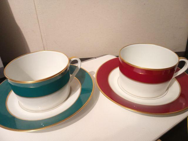 2 tazas desayuno a juego porcelana Limoges