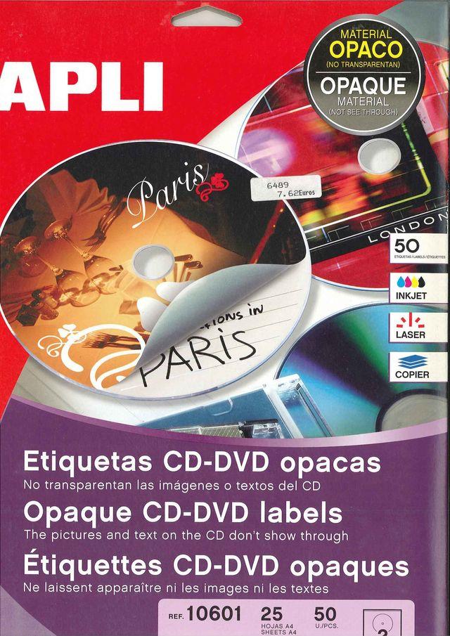 ETIQUETAS CD/DVD OPACAS PARA IMPRESORA
