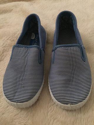 Zapatillas lona rayas azules niño n26