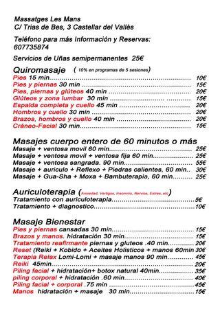 Masajes castellar del Vallès C/ trias de bes 3