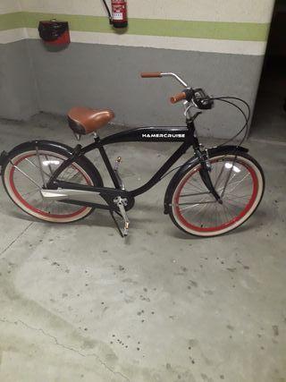 bicicleta paseo vintage retro negra ruedas rojas
