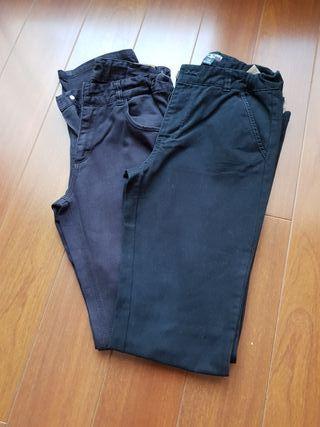 Dos pantalones chinos azul marino