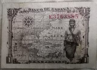 BILLETE DE 1 PESETA, AÑO 1943