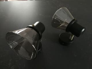 2 apliques negro y cristal humo sin estrenar