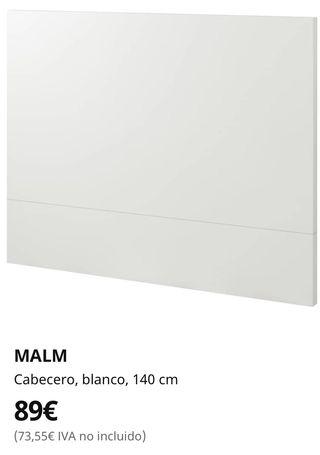 Cabecero malm seminuevo 1,40 m ikea blanco