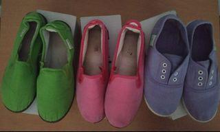 N° 35. Lote zapatillas lila-fucsia-verde de niña