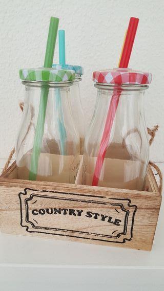 Botellas con pajita nuevas